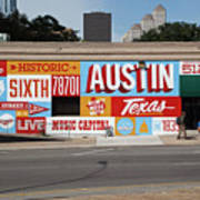 Welcome To Historic Sixth Street Is A Famous Mural Located At 6th Street And I-35 Frontage Road, Austin, Texas - Stock Image Art Print