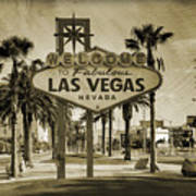 Welcome To Las Vegas Series Sepia Grunge Art Print by Ricky Barnard