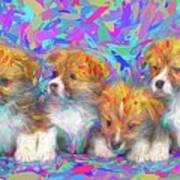 Welsh Corgi Pups Art Print