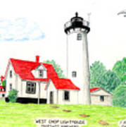 West Chop Lighthouse Print by Frederic Kohli