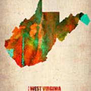 West Virginia Watercolor Map Art Print by Naxart Studio
