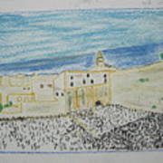 Western Wall.holly Land.color Pencils 1990 Art Print