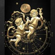 Western Zodiac - Golden Gemini - The Twins On Black Canvas Art Print