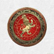 Western Zodiac - Golden Leo - The Lion On White Leather Art Print