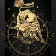 Western Zodiac - Golden Taurus - The Bull On Black Canvas Art Print