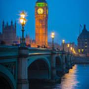 Westminster Bridge At Night Art Print