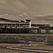Weston  Super Mare   Outflow  Pier  Black  White Art Print
