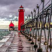 Wet At Grand Haven Art Print