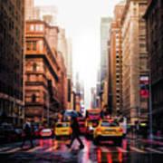 Wet Streets Of New York City Art Print