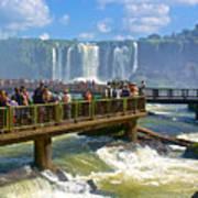 Wet Walkways In The Iguazu River In Iguazu Falls National Park-brazil  Art Print