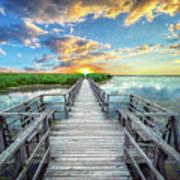 Wetland Marsh Sunrise Treasure Coast Florida Boardwalk A1 Art Print