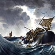 Whale Destroying Whaling Ship Art Print