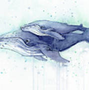 Whales Humpback Watercolor Mom And Baby Art Print
