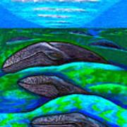 Whales In Glacier Bay  Alaska Art Print by Al Goldfarb