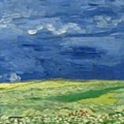 Wheatfield Under Thunderclouds At Wheat Fields Van Gogh Series, By Vincent Van Gogh Art Print