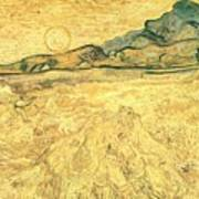 Wheatfield With Reaper And Sun Art Print