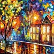 When The City Sleeps 2 - Palette Knife Oil Painting On Canvas By Leonid Afremov Art Print