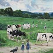 When The Cows Come Home, It's Milking Time Art Print