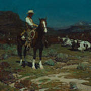 While Trail-weary Cattle Are Sleeping  Art Print