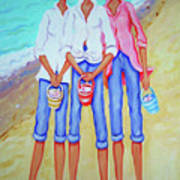 Whimsical Beach Women - The Treasure Hunters Art Print