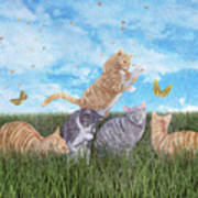 Whimsical Cats Art Print