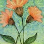 Whimsical Orange Flowers - Art Print