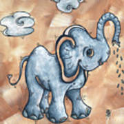 Whimsical Pop Art Childrens Nursery Original Elephant Painting Adorable By Madart Art Print