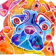 Whimsical Pug Dog Art Print by Jo Lynch