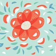 Whimsical Red Flower Art Print