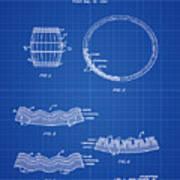 Whiskey Barrel Patent 1968 In Blue Print Art Print