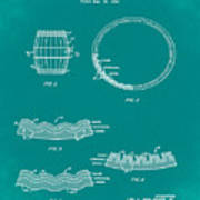 Whiskey Barrel Patent 1968 In Green Art Print