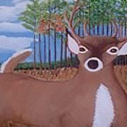 Whit Tall Buck Art Print