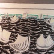 White And Grey Sailing Boats Art Print
