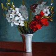 White And Red Gladioli Art Print