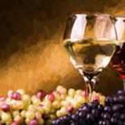 White And Red Wine Art Print