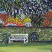 White Bench In Colorful Garden Art Print