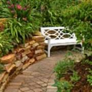 White Bench In The Garden Art Print