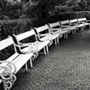 White Benches-  By Linda Wood Woods Art Print