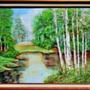 White Birch On The Lake Art Print