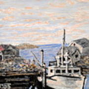 White Boat In Peggys Cove Nova Scotia Art Print