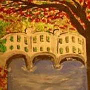 White Bridge In The Woods Art Print