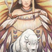 White Buffalo Woman Art Print