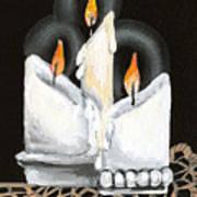 White Candle Trio Art Print