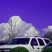 White Car And Clouds Art Print