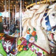 White Carousel Horse Dressed Up Art Print