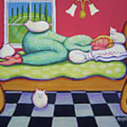 White Cats - Cat Napping Art Print