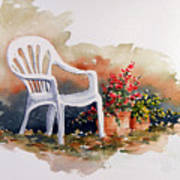 White Chair With Flower Pots Art Print