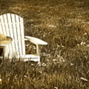 White Chair With Straw Hat In A Field Art Print
