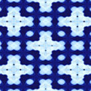 White Crosses And Blue Diamond Abstract Art Print