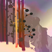White Deer Climbing Mountains - Abstract And Colorful Forest Art Print